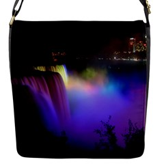 Niagara Falls Dancing Lights Colorful Lights Brighten Up The Night At Niagara Falls Flap Messenger Bag (s) by Simbadda