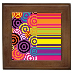 Retro Circles And Stripes Colorful 60s And 70s Style Circles And Stripes Background Framed Tiles