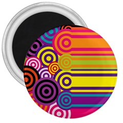 Retro Circles And Stripes Colorful 60s And 70s Style Circles And Stripes Background 3  Magnets by Simbadda