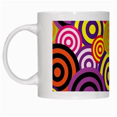 Retro Circles And Stripes Colorful 60s And 70s Style Circles And Stripes Background White Mugs by Simbadda