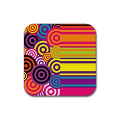 Retro Circles And Stripes Colorful 60s And 70s Style Circles And Stripes Background Rubber Coaster (square)  by Simbadda