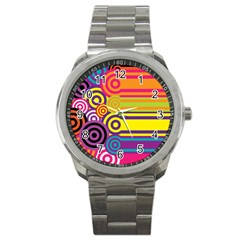 Retro Circles And Stripes Colorful 60s And 70s Style Circles And Stripes Background Sport Metal Watch by Simbadda