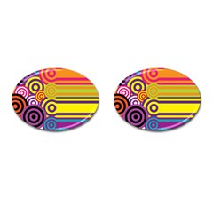 Retro Circles And Stripes Colorful 60s And 70s Style Circles And Stripes Background Cufflinks (oval) by Simbadda