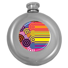 Retro Circles And Stripes Colorful 60s And 70s Style Circles And Stripes Background Round Hip Flask (5 Oz) by Simbadda