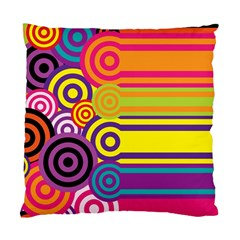 Retro Circles And Stripes Colorful 60s And 70s Style Circles And Stripes Background Standard Cushion Case (two Sides) by Simbadda