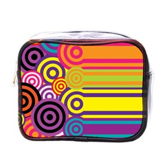 Retro Circles And Stripes Colorful 60s And 70s Style Circles And Stripes Background Mini Toiletries Bags by Simbadda