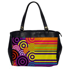Retro Circles And Stripes Colorful 60s And 70s Style Circles And Stripes Background Office Handbags by Simbadda