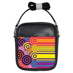 Retro Circles And Stripes Colorful 60s And 70s Style Circles And Stripes Background Girls Sling Bags by Simbadda