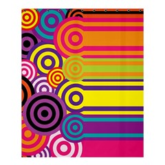 Retro Circles And Stripes Colorful 60s And 70s Style Circles And Stripes Background Shower Curtain 60  X 72  (medium)  by Simbadda