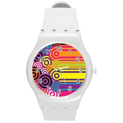 Retro Circles And Stripes Colorful 60s And 70s Style Circles And Stripes Background Round Plastic Sport Watch (m) by Simbadda