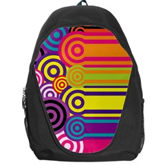 Retro Circles And Stripes Colorful 60s And 70s Style Circles And Stripes Background Backpack Bag by Simbadda