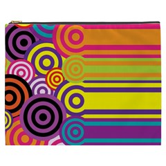 Retro Circles And Stripes Colorful 60s And 70s Style Circles And Stripes Background Cosmetic Bag (xxxl)  by Simbadda