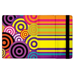 Retro Circles And Stripes Colorful 60s And 70s Style Circles And Stripes Background Apple Ipad 3/4 Flip Case by Simbadda