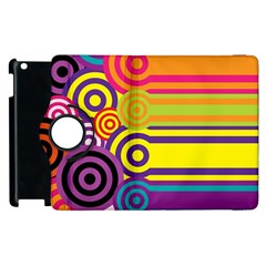 Retro Circles And Stripes Colorful 60s And 70s Style Circles And Stripes Background Apple Ipad 2 Flip 360 Case by Simbadda