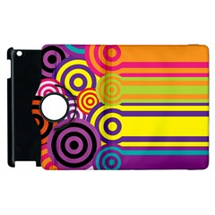 Retro Circles And Stripes Colorful 60s And 70s Style Circles And Stripes Background Apple Ipad 3/4 Flip 360 Case by Simbadda