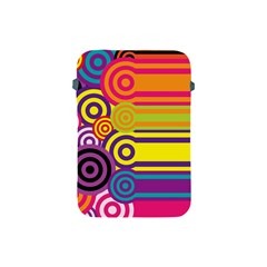 Retro Circles And Stripes Colorful 60s And 70s Style Circles And Stripes Background Apple Ipad Mini Protective Soft Cases by Simbadda