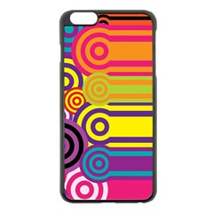Retro Circles And Stripes Colorful 60s And 70s Style Circles And Stripes Background Apple Iphone 6 Plus/6s Plus Black Enamel Case by Simbadda