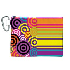 Retro Circles And Stripes Colorful 60s And 70s Style Circles And Stripes Background Canvas Cosmetic Bag (xl) by Simbadda