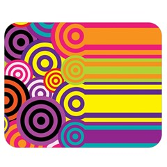 Retro Circles And Stripes Colorful 60s And 70s Style Circles And Stripes Background Double Sided Flano Blanket (medium)  by Simbadda