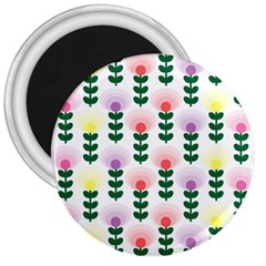 Floral Wallpaer Pattern Bright Bright Colorful Flowers Pattern Wallpaper Background 3  Magnets by Simbadda