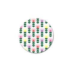 Floral Wallpaer Pattern Bright Bright Colorful Flowers Pattern Wallpaper Background Golf Ball Marker by Simbadda