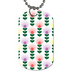 Floral Wallpaer Pattern Bright Bright Colorful Flowers Pattern Wallpaper Background Dog Tag (two Sides) by Simbadda