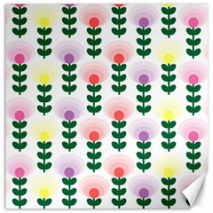 Floral Wallpaer Pattern Bright Bright Colorful Flowers Pattern Wallpaper Background Canvas 12  X 12   by Simbadda