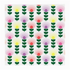 Floral Wallpaer Pattern Bright Bright Colorful Flowers Pattern Wallpaper Background Medium Glasses Cloth (2 Side) by Simbadda