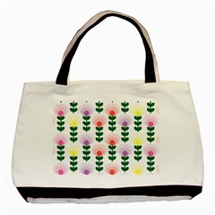 Floral Wallpaer Pattern Bright Bright Colorful Flowers Pattern Wallpaper Background Basic Tote Bag (two Sides) by Simbadda