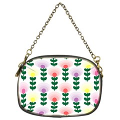 Floral Wallpaer Pattern Bright Bright Colorful Flowers Pattern Wallpaper Background Chain Purses (two Sides)  by Simbadda