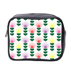 Floral Wallpaer Pattern Bright Bright Colorful Flowers Pattern Wallpaper Background Mini Toiletries Bag 2 Side by Simbadda