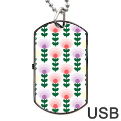 Floral Wallpaer Pattern Bright Bright Colorful Flowers Pattern Wallpaper Background Dog Tag Usb Flash (one Side)