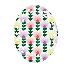 Floral Wallpaer Pattern Bright Bright Colorful Flowers Pattern Wallpaper Background Oval Filigree Ornament (two Sides) by Simbadda