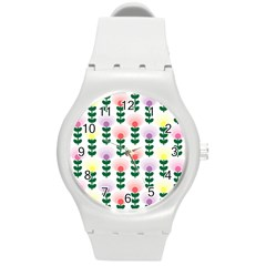 Floral Wallpaer Pattern Bright Bright Colorful Flowers Pattern Wallpaper Background Round Plastic Sport Watch (m) by Simbadda