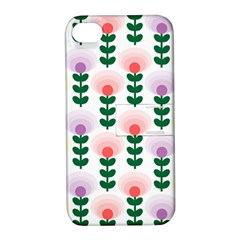 Floral Wallpaer Pattern Bright Bright Colorful Flowers Pattern Wallpaper Background Apple Iphone 4/4s Hardshell Case With Stand by Simbadda