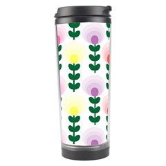 Floral Wallpaer Pattern Bright Bright Colorful Flowers Pattern Wallpaper Background Travel Tumbler by Simbadda