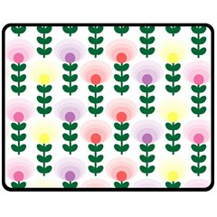 Floral Wallpaer Pattern Bright Bright Colorful Flowers Pattern Wallpaper Background Double Sided Fleece Blanket (medium)  by Simbadda