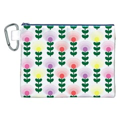 Floral Wallpaer Pattern Bright Bright Colorful Flowers Pattern Wallpaper Background Canvas Cosmetic Bag (xxl) by Simbadda