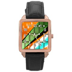 Abstract Wallpapers Rose Gold Leather Watch  by Simbadda
