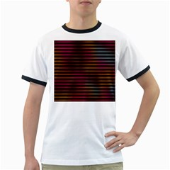 Colorful Venetian Blinds Effect Ringer T-Shirts