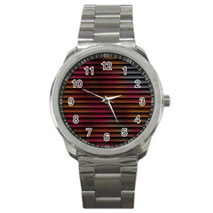 Colorful Venetian Blinds Effect Sport Metal Watch by Simbadda