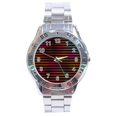 Colorful Venetian Blinds Effect Stainless Steel Analogue Watch by Simbadda