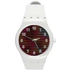 Colorful Venetian Blinds Effect Round Plastic Sport Watch (M) by Simbadda