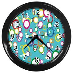 Circles Abstract Color Wall Clocks (black)