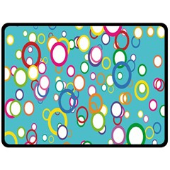 Circles Abstract Color Double Sided Fleece Blanket (large)  by Simbadda