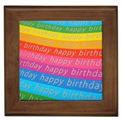 Colorful Happy Birthday Wallpaper Framed Tiles