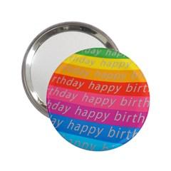 Colorful Happy Birthday Wallpaper 2 25  Handbag Mirrors by Simbadda