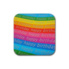Colorful Happy Birthday Wallpaper Rubber Square Coaster (4 pack)