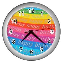 Colorful Happy Birthday Wallpaper Wall Clocks (Silver)