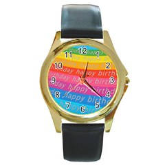 Colorful Happy Birthday Wallpaper Round Gold Metal Watch